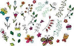 Coleção de flores desenhadas mão e de redemoinhos Fotos de Stock Royalty Free