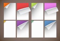 Coleção de folhas do papel em branco da cor Imagens de Stock Royalty Free