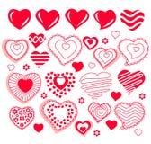 Coleção de formas diferentes do coração Fotografia de Stock