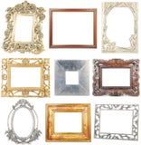 Coleção de frames de madeira e metálicos no branco Imagem de Stock Royalty Free