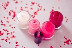 Coleção de frascos do lustrador de prego imagem de stock royalty free