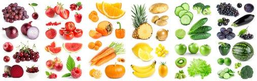 Coleção de frutas e legumes da cor no branco ilustração do vetor