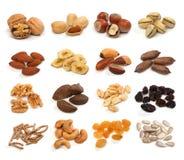 Coleção de frutos, de cereais, de sementes e de porcas secados saudáveis Fotografia de Stock