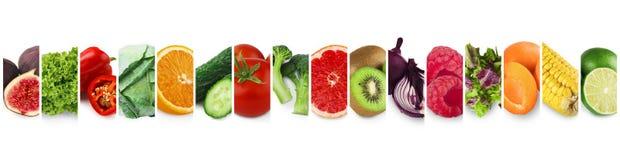 Cole??o de frutos, de vegetais e de bagas maduros frescos imagem de stock royalty free