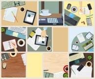 Coleção de fundos do negócio no projeto liso Fotografia de Stock