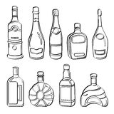 Coleção de garrafas do álcool Fotografia de Stock