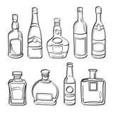 Coleção de garrafas do álcool Foto de Stock Royalty Free