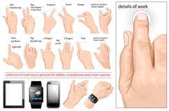 Coleção de gestos do multi-toque Imagem de Stock Royalty Free