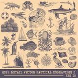 Coleção de gravuras náuticas do vetor ilustração stock