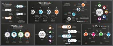 A coleção de infographic no fundo preto pode ser usada para a disposição dos trabalhos, diagrama, opções do número, design web ilustração do vetor