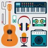 Coleção de instrumentos de música e da ilustração lisa sadia do projeto Imagem de Stock Royalty Free