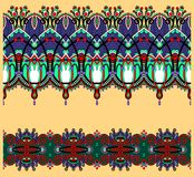 Coleção de listras florais decorativas sem emenda Imagens de Stock