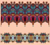 Coleção de listras florais decorativas sem emenda Fotos de Stock Royalty Free