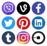 Coleção de logotipos redondos dos meios sociais populares ilustração royalty free