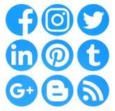A coleção de logotipos sociais azuis dos meios do círculo popular imprimiu sobre ilustração royalty free