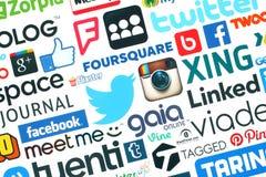 Coleção de logotipos sociais populares dos meios Fotografia de Stock