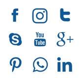 Coleção de logotipos sociais populares dos meios Imagens de Stock Royalty Free