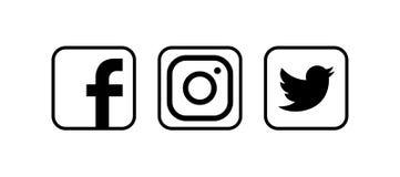 Coleção de logotipos sociais populares dos meios Ilustração do vetor ilustração royalty free