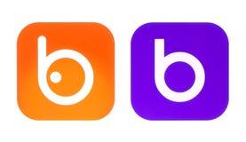 Coleção de logotipos velhos e novos de Badoo Imagens de Stock Royalty Free