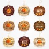 Coleção de madeira com folhas de outono - o melhor preço das etiquetas e dos crachás da venda do outono, venda grande do outono,  Imagem de Stock