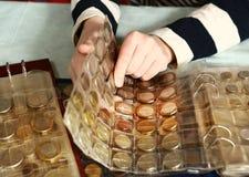 Coleção de moeda dos países diferentes imagens de stock