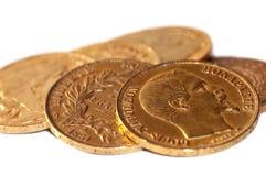 Coleção de moedas de ouro antigas francesas (Napoleon) foto de stock