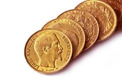 Coleção de moedas de ouro antigas francesas (Napoleon) imagem de stock royalty free