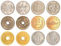 Coleção de moedas do iene japonês Fotografia de Stock Royalty Free