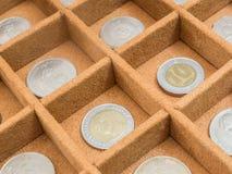 Coleção de moedas na caixa Fotos de Stock