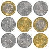 Coleção de moedas singapurense do dólar imagem de stock royalty free