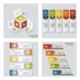 Coleção de 4 moldes coloridos da apresentação do projeto Fundo do vetor Fotografia de Stock Royalty Free