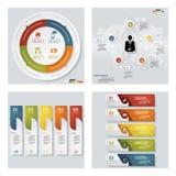 Coleção de 4 moldes coloridos da apresentação do projeto Fundo do vetor Imagem de Stock