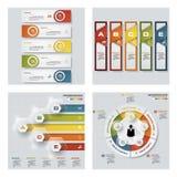 Coleção de 4 moldes coloridos da apresentação do projeto Fundo do vetor Imagens de Stock