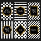 Coleção de 6 moldes do cartão do vintage nas cores brancas e pretas ilustração royalty free