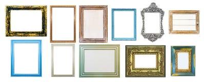 Coleção de molduras para retrato afligidas gastos, isolada no whit Imagens de Stock