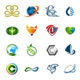 Coleção de muitos logotipos diferentes com cores da gradação, 2D, ilustração do vetor