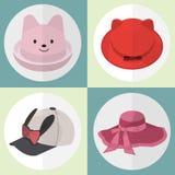 Coleção de mulheres bonitos do chapéu Imagem de Stock