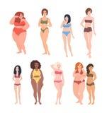Coleção de mulheres lindos da raça, da altura e da figura diferentes tipo vestido no roupa de banho Desenhos animados fêmeas boni ilustração stock