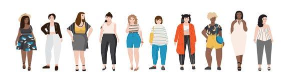 A coleção de mulheres positivas do tamanho vestiu-se na roupa à moda Grupo de meninas curvy que vestem a roupa na moda Desenhos a ilustração do vetor