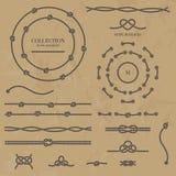 Coleção de nós da corda Quadros, beiras e nós da corda ilustração royalty free
