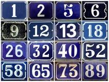 Coleção de números europeus do endereço no azul Fotografia de Stock