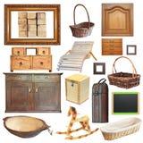 Coleção de objetos de madeira velhos isolados Fotos de Stock Royalty Free