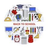 A coleção de objetos diferentes da escola arranjou em um círculo Fotografia de Stock Royalty Free