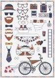 Coleção de objetos e de sinais do casamento do moderno Elementos do projeto para o cartão e o convite de casamento e infographic  ilustração stock