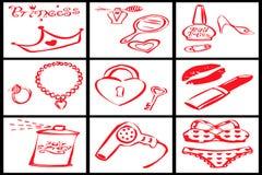 Coleção de objetos vermelhos para uma princesa da mulher Foto de Stock