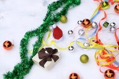Coleção de ornamento do Natal no fundo branco Imagens de Stock