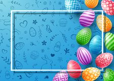 Coleção de ovos coloridos com o quadro vazio para o texto no fundo bonito da garatuja Imagens de Stock
