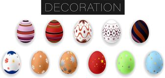 Cole??o de ovos da p?scoa coloridos real?sticos com ornamento Ilustra??o do vetor ilustração stock