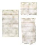 Coleção de papel do bloco de notas - rasgada e suja Fotos de Stock Royalty Free