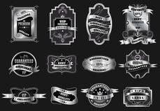 Coleção de prata original retro das etiquetas dos emblemas Foto de Stock Royalty Free